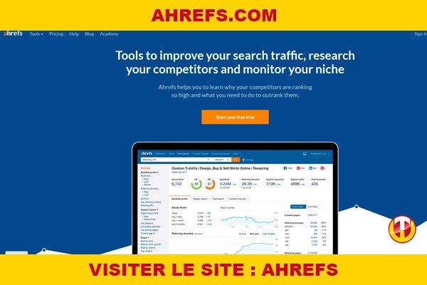 Site internet : Ahrefs