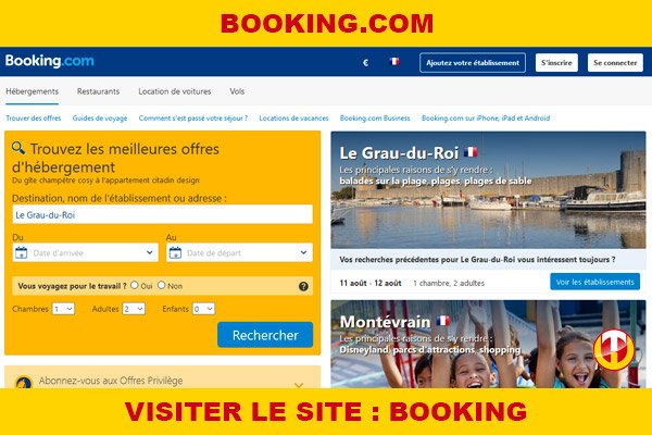 Site internet : Booking