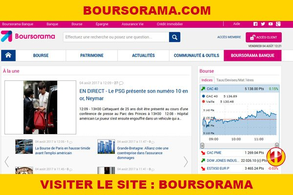 Site internet : Boursorama