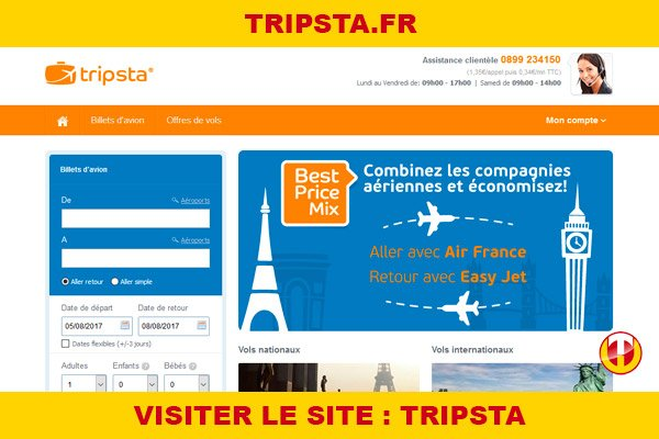 Site internet : Tripsta